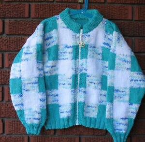 Zippered sweater- Brand new- Turquoise Patches- size 10