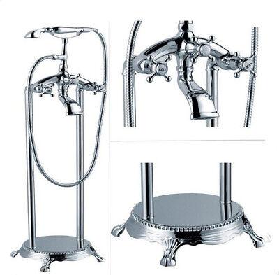 Freestanding Tub Filler Cross Knobs Handle Bath Faucet Bathtub Shower NEW Design
