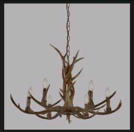 Stag Six Light Antler Pendant In Rustic Brown