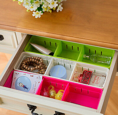Periea 3 Pack Coloured Plastic Drawer Dividers Inserts Trays Green White Pink