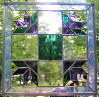 Quilt Block Pattern Stained Glass Panels