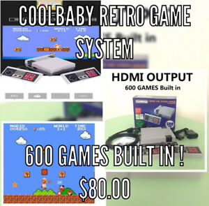 Retro gaming console with HDMI, 2 controllers and 600 games!