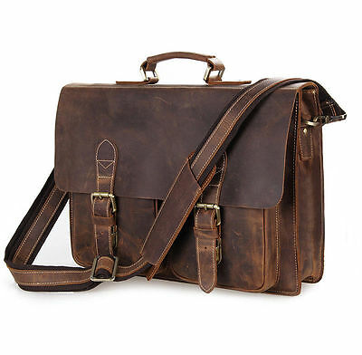 NEW Crazy Horse REAL Leather Style Men's Briefcase Laptop Handbag Messenger Bag