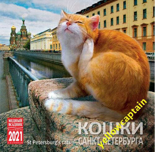 2021 wall calendar: Saint Petersburg`s cats wildcats Russia in English & Russian