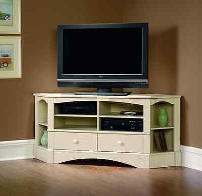 White Corner TV Stand Entertainment Center Cabinet Media Credenza 60 Inch Wood  Corner Tv Cabinet White