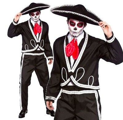Mens DAY OF THE DEAD DELUXE MARIACHI Skeleton Festival Halloween Costume + Hat