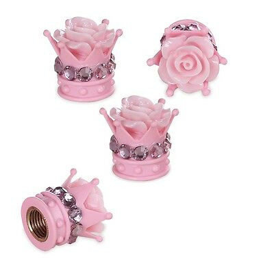 Bling Car Accessories Decoration Pink Diamond Flower Emblem Tire Valve Stem Caps