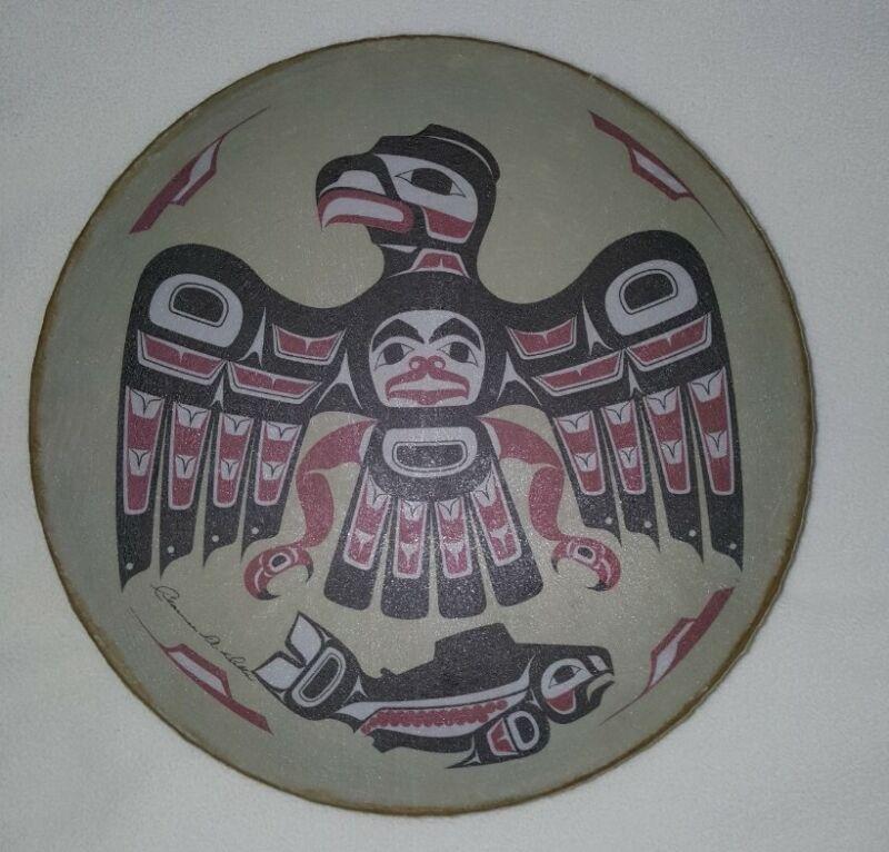 Vintage Clarence A. WELLS  Singed Thunderbird Art Drum  Northwest  Native Haida
