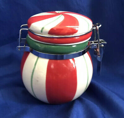 Cracker Barrel Christmas Sweets Red Green Stripe Ceramic Jar Vintage