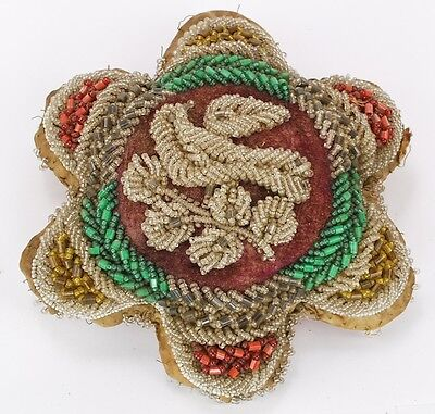 Antique Iroquois Native American Beaded Pin Cushion Whimsey Mohawk Iroquois
