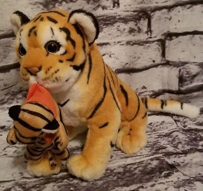 American Furniture Warehouse (AMERICAN FURNITURE WAREHOUSE TIGER CARRYING BABY CUB IN MOUTH PLUSH 9