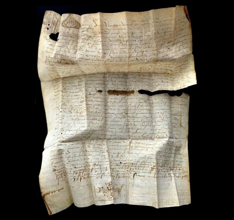 RARE 1522 Medieval Vellum Authentic Manuscript W/ Orthodox Cross Europe Document