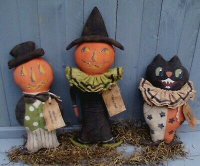 Primitive Vintage HALLOWEEN TRIO JACKS and a CAT Doll Pattern SALE