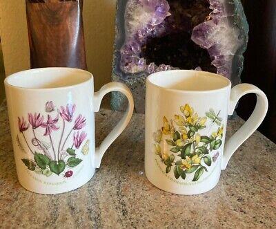 Two (2) MINT Portmeirion Botanic Garden 12-oz Mugs Cyclamen & Milkwort Flowers