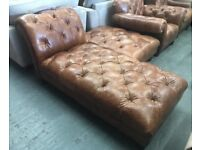 Brown leather chesterfield chase