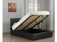 BRAND NEW LEATHER STORAGE BED FRAME IN MULTICOLOURS WITH OPTIONAL MATTRESS-QUICK DELIVERY!!!!