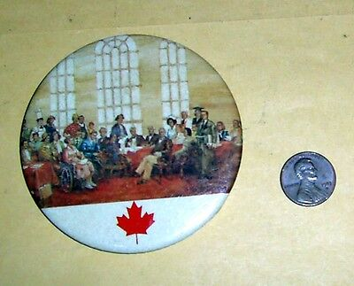 """Vintage Canada """"Fathers of Confederation"""" by Rex Wood - Button 3"""" Diameter"""