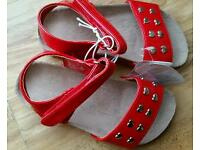 Mothercare Girls Red Patent Sandals with Heart detail Size 7 Brand New