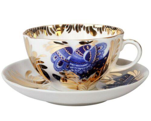 Imperial Porcelain Teacup & Saucer, Golden Garden Blue Bird Pattern, Lomonosov