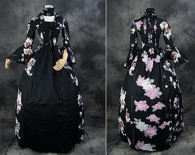 V-24 M/L/XL blumen schwarz black Victorian Cosplay Kostüm costume Kleid dress