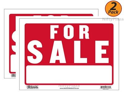 2 Pack - Bazic For Sale Sign 9 X 12 Flexible Plastic Businesspersonal Use S1