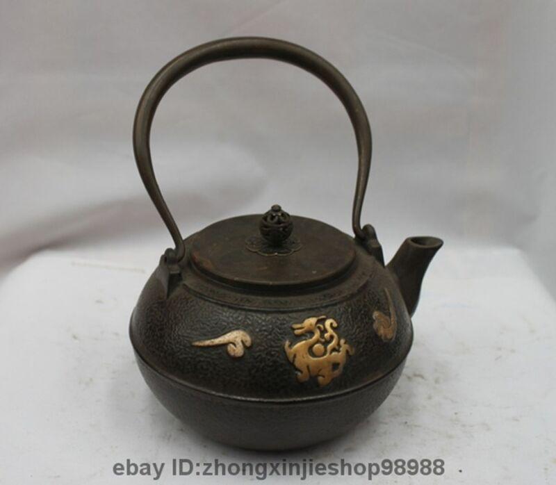Archaic Japanese Iron Silver Gilt Phoenix Bird god Flagon Kettle Wine Tea Pot