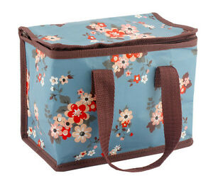Blue Floral Katie Lunch Bag Flowers Handle Work Food Storage Brown Pink | EBay