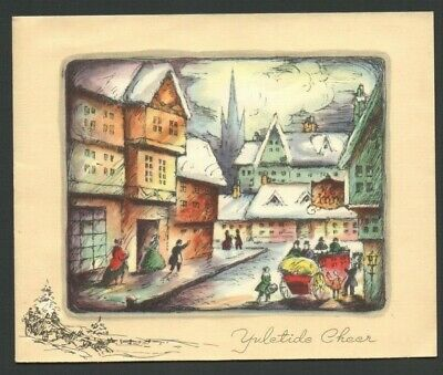 Vintage Christmas Card Old Village Scene Stagecoach Unloading People at the INN