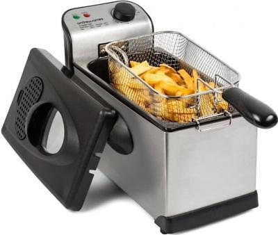Andrew James Deep Fat Fryer 3 Litre Chip Pan Basket Fry With Temperature Control