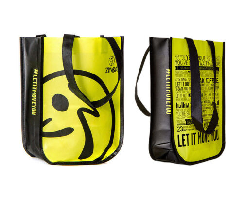 ZUMBA Let It Move You manifesto logo tote bag lime green perfect for shoes New