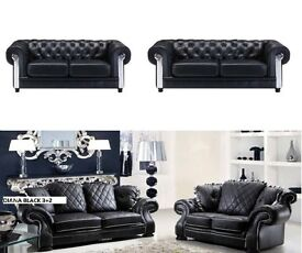 Luxury leather 3+2 chesterfield sofa collection as in pic