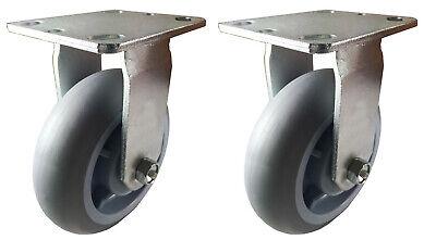 2 Heavy Duty Caster Set 568 R Non-marking Rubber Plastic Rigid Swivel Brake