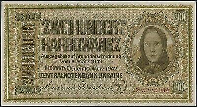 Ro.598b Besetzung Ukraine 200 Karbowanez 1942 (1/1-)