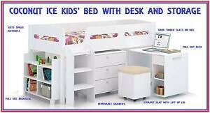 FREE DELIVERY Girls Boys Single Loft Kids Bed - Desk and Storage New Farm Brisbane North East Preview