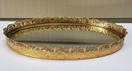 Signed Stylebuilt Vanity Tray Mirror Gold Floral Filigree Edge Design 13 x 9