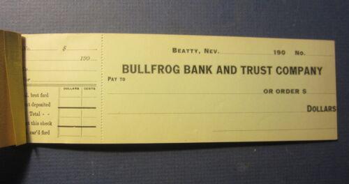 Full Book of 10 Old c.1900 - BULLFROG Bank & Trust - BANK CHECKS - Beatty NEVADA
