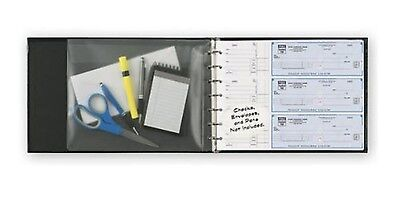 7-ring 3-on-a-page Business Check Book Binder Vinyl Pouch Office Supply - Black