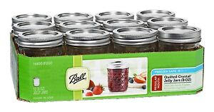 Half Pint Crystal Mason Canning Jars 8 Ounce Lids Band Ball Regular Jam Jelly