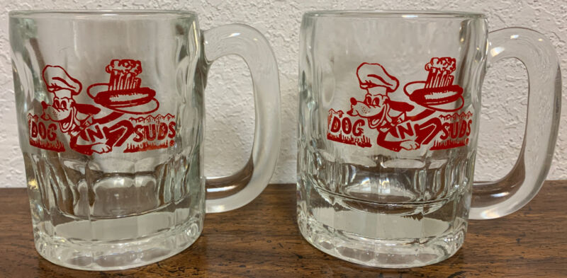 2 Dog n Suds Root Beer Mug 4 1/4 REALLY NICE SET