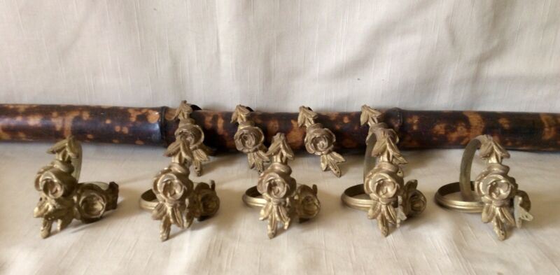 14 Matching French Antique Ornate Gilt Metal ORMOLU CURTAIN RINGS/19th C. Roses