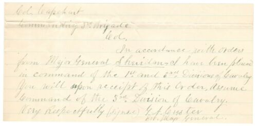Important Orders Issued by Gen. George A. Custer on Very Day of Lee