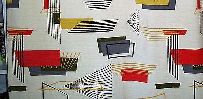 Atomic barkcloth mid century modern satelite cotton vintage fabric drapery panel
