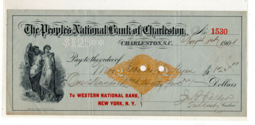 US revenue stamped paper bank check SC#RN-X7  NY 1901 South Carolina ID#S905