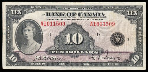 1935 Bank of Canada $10.00 Note - VF - English Issue - A1011509  CC36