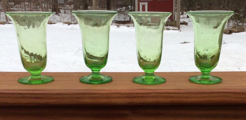 4 Pairpoint Art Glass Green Juice Glasses