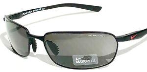 ee4b909cf0 NEW  NIKE AVID Metal Black w  Max Optics Grey Lens Golf Sunglass EV0569 001