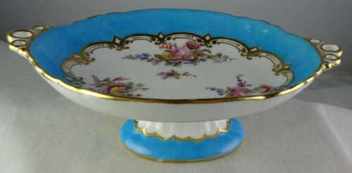 Antique Paris Porcelain (?) Small Footed Tray Blue Hand Painted Flowers Gold