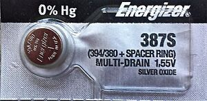ENERGIZER 387S 394/380 + Spacer Ring Brand New Battery Authorized Seller