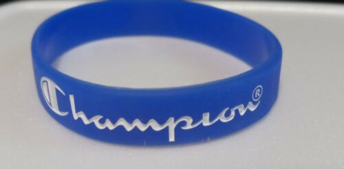 """DK BLUE with White Print CHAMPION Silicone Bracelets 5/16"""" Wide - US Seller!!!"""