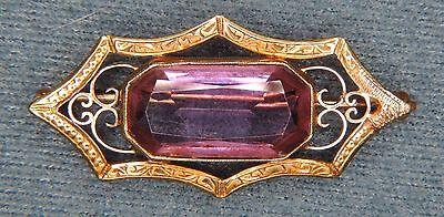 14k Amethyst Brooch (Beautiful Victorian Amethyst Solid 14K Gold Filigree Brooch / Pin )